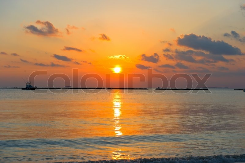 Tropical Landscape Beautiful Sunset On The Beach Sea And Sky