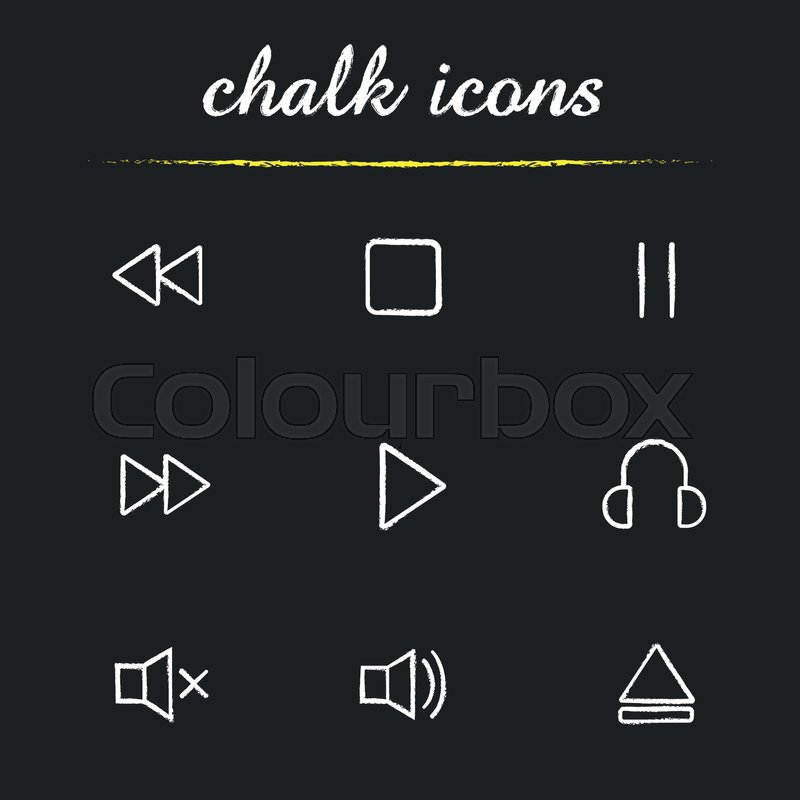 Music player interface chalk icons       Stock vector