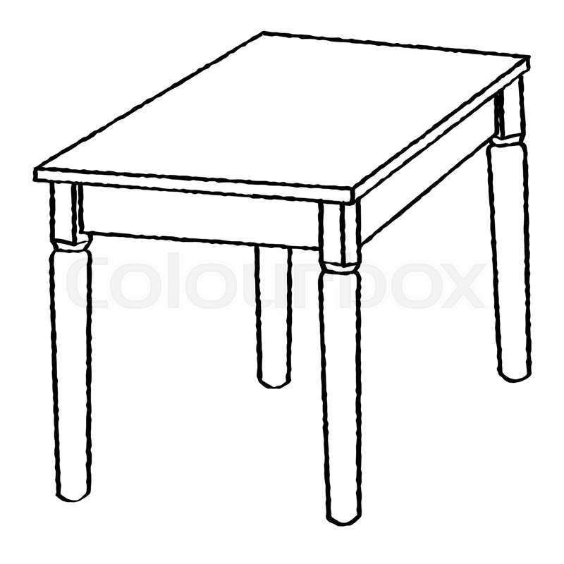 Hand drawn sketch of Table isolated, Black and White Cartoon ...