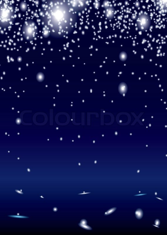 Bright White Sparks On Blue Background With Copyspace