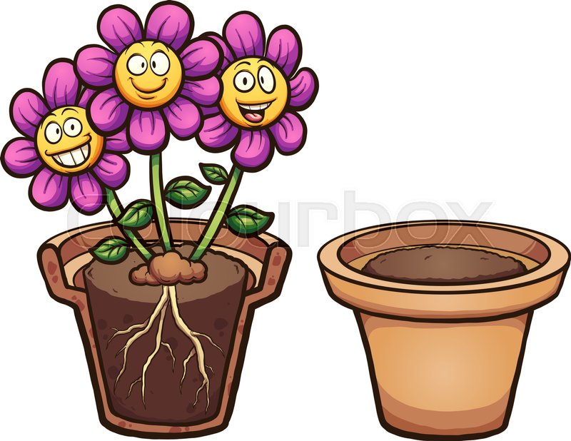 cartoon flowers with visible roots and flower pot vector clip art