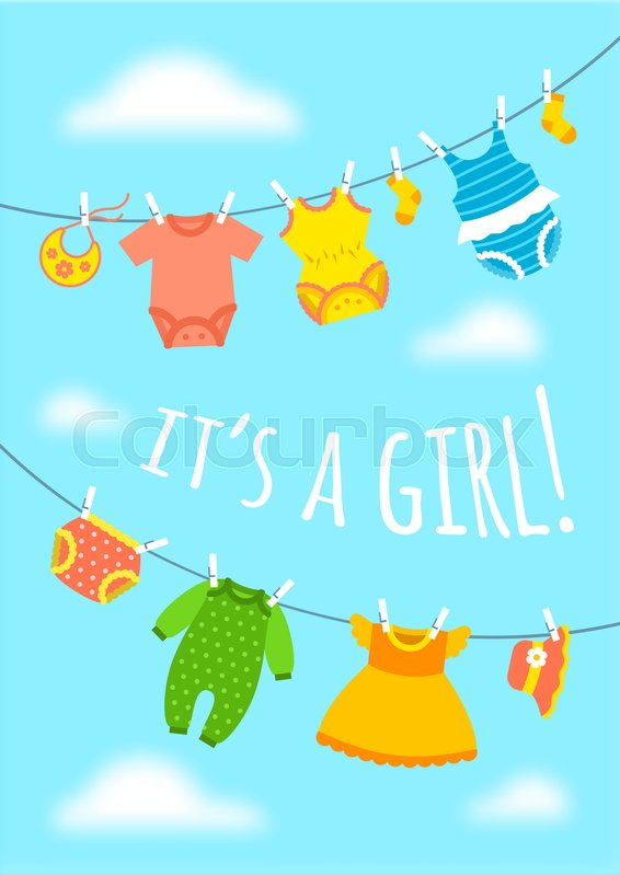 Its a girl cartoon cute greeting card baby shower party invitation its a girl cartoon cute greeting card baby shower party invitation vertical cover vector flat illustration newborn childs clothes hanging on ropes m4hsunfo