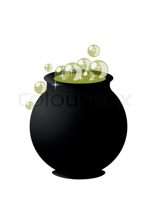 Witch's cauldron on pot on halloween on white background | Stock ...