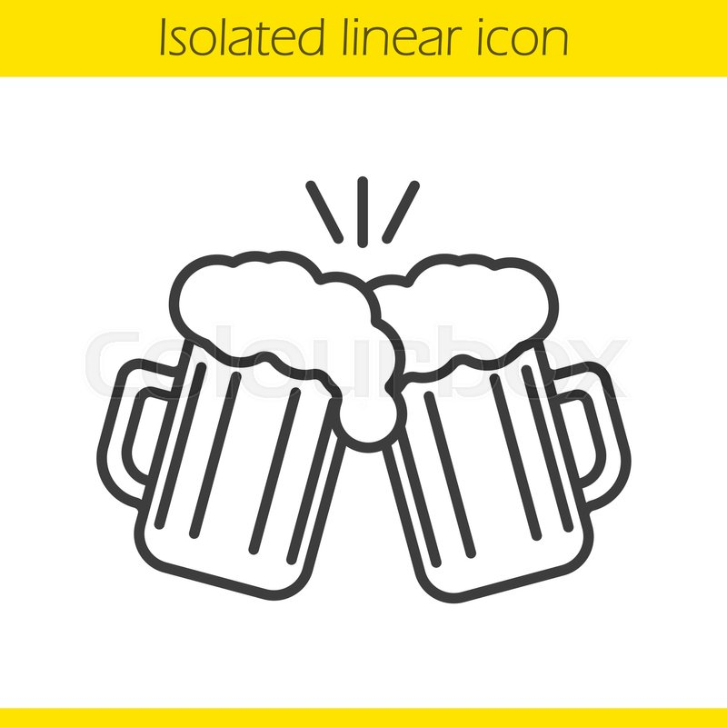 One Line Art Beer : Toasting beer glasses linear icon cheers thin line
