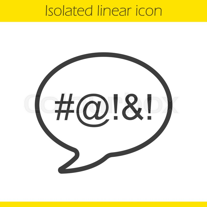 Dirty Language Linear Icon Cursing Thin Line Illustration Chat