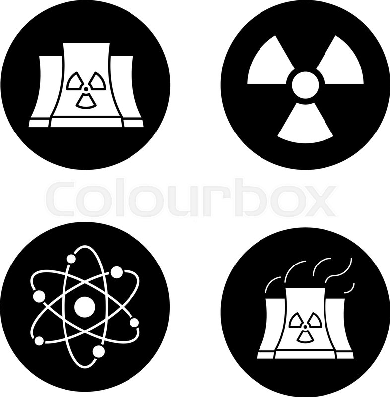 Atomic Energy Icons Set Nuclear Power Plant With Smoke Radiation