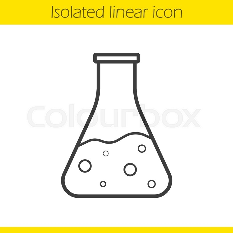 Line Drawing Chemistry : Chemical reaction linear icon thin line illustration