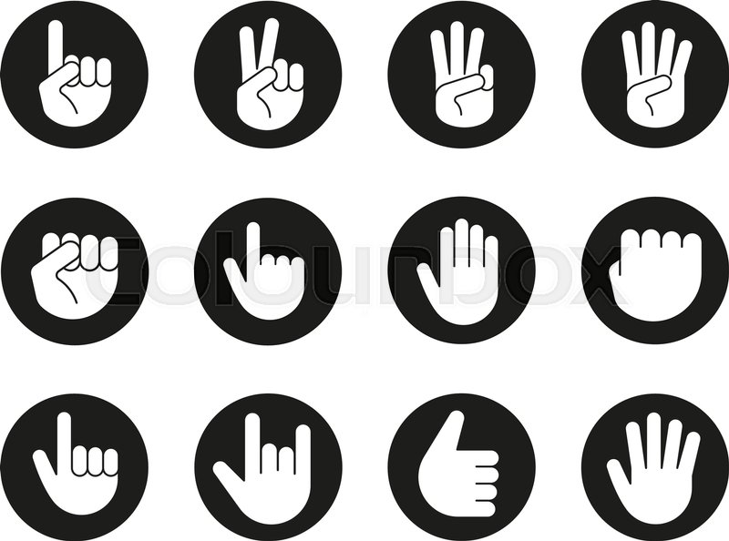 Hand Gestures Icons Set Point Out Approve Hello Heavy Metal