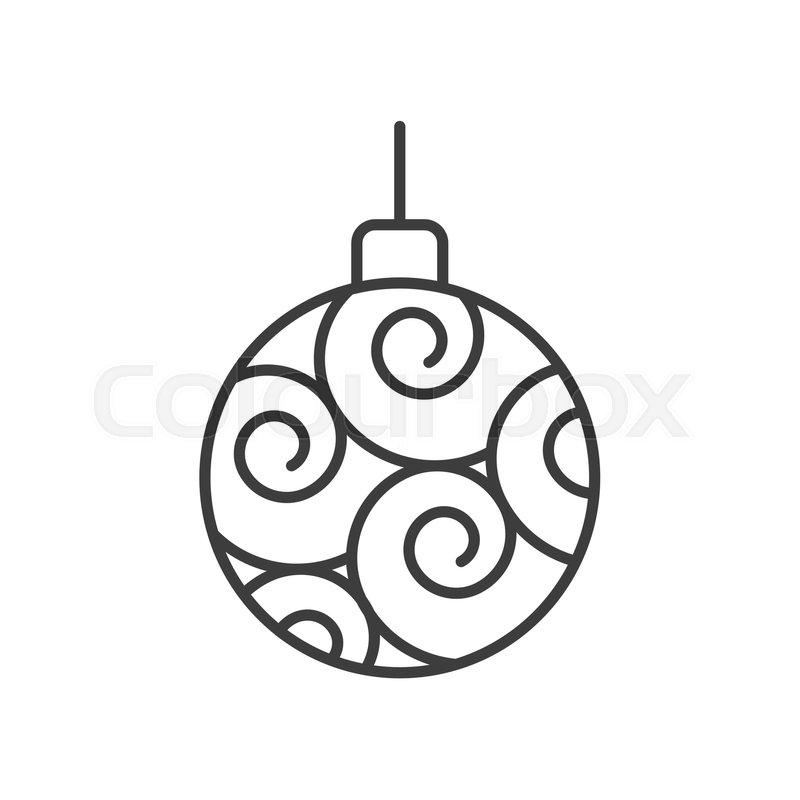 Christmas Tree Ball Linear Icon Thin Stock Vector Colourbox