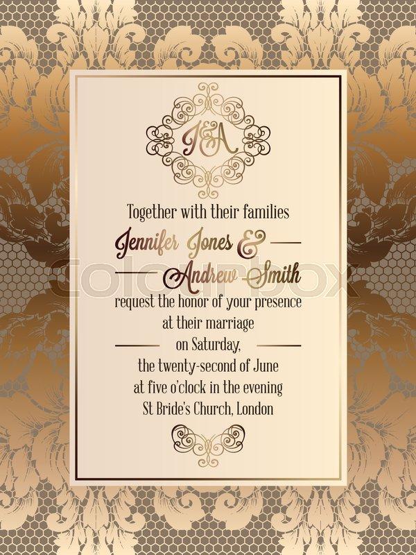 Vintage baroque style wedding invitation card template elegant stock vector of vintage baroque style wedding invitation card template elegant formal design stopboris Gallery