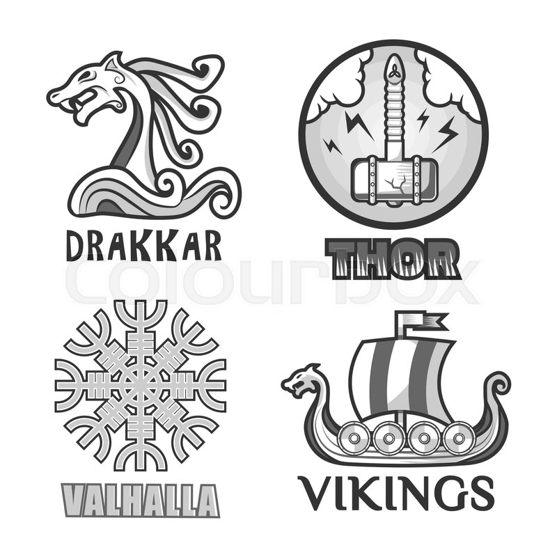 Viking Warriors Logo Set Vector Isolated Symbols Of Thor Hammer And