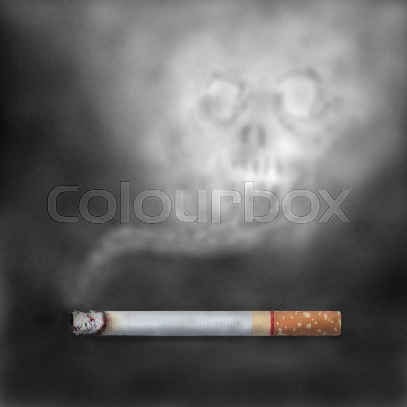 Burning cigarettes with skull smoke. Smoking is injurious ...