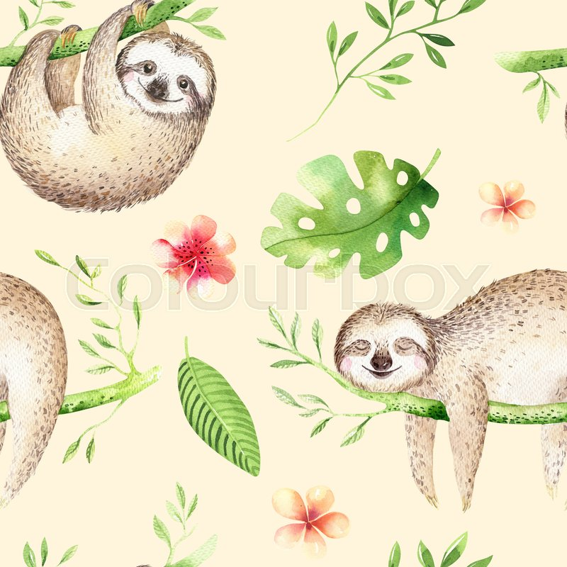 Baby Animals Sloth Nursery Isolated Seamless Pattern Painting Watercolor Boho Tropical Drawing Child Cute Palm Tree Leaves Tropic Green