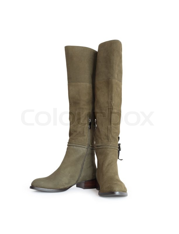 new olive green high boots isolated on white