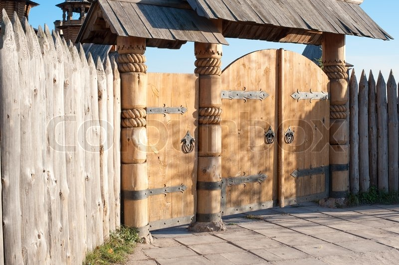 Wooden Gate A Gate In Ancient Style Stock Photo Colourbox