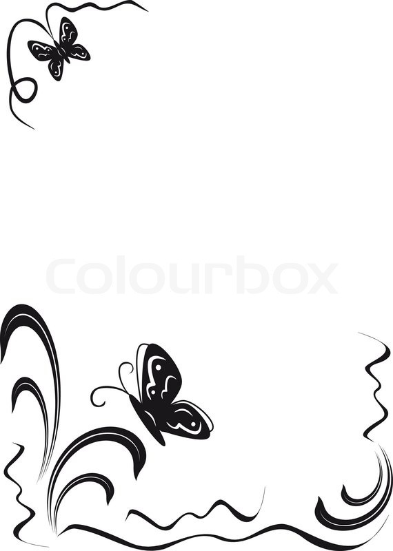Butterfly And Floral Ornament Black Stock Vector Colourbox
