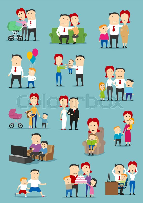 Family People With Baby And Kid Cartoon Set Mother Father Son Daughter Characters Reading Book Playing Video Games Celebrating Birthday