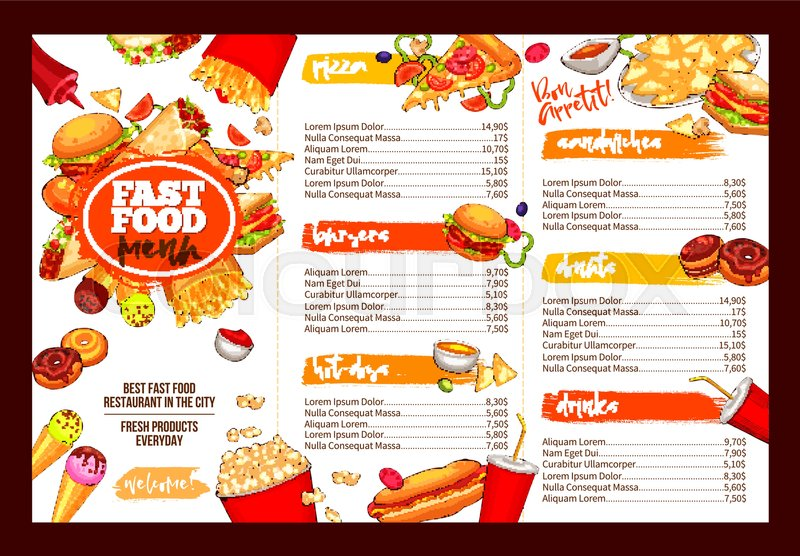 Fast food restaurant menu template lunch dishes and for Sandwich shop menu template