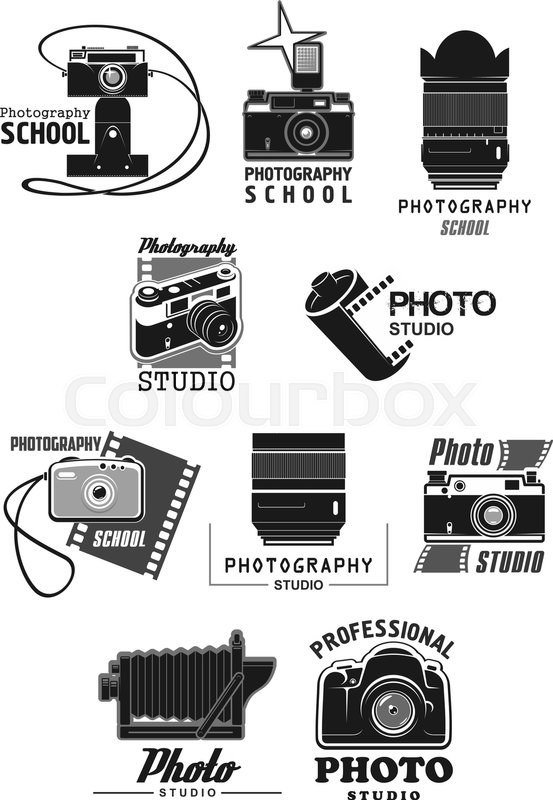Photo Studio Icon Set Photo Camera Digital Camera Lens And Flash