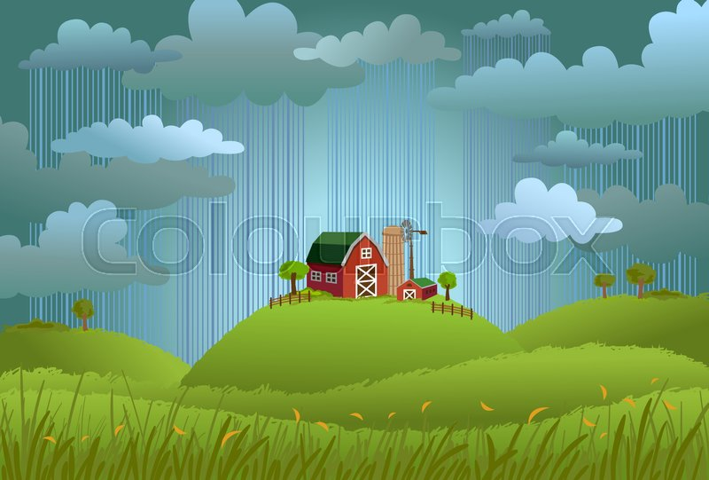 landscape with the small farm in rainy