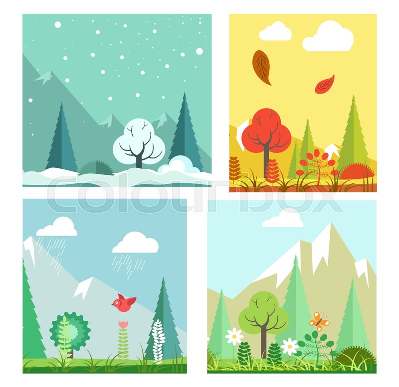 Four seasons nature landscape winter, summer, autumn and spring weather. Vector flat scenery of mountains in snow, blooming flowers and trees, fall leaves in rain and wind, vector