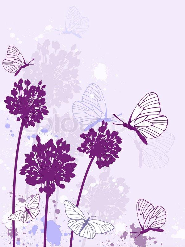 Image Result For Purple Flowers Background Elegant Purple Flowers Butterflies Wallpaper