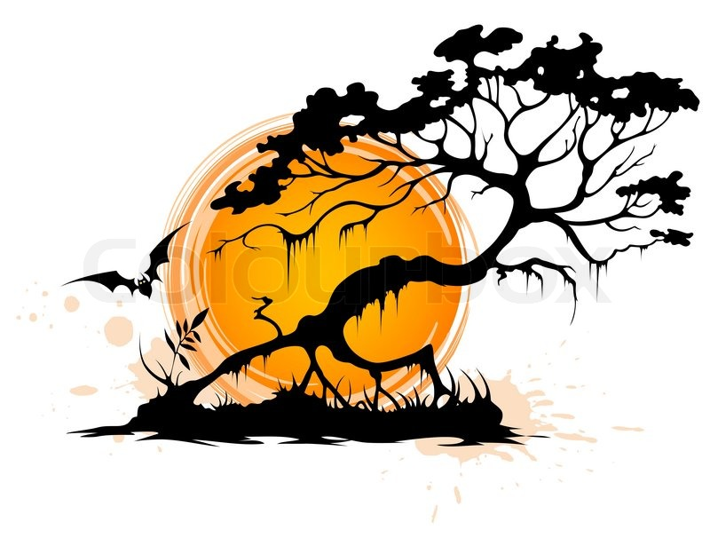 halloween background with silhouette of a tree and setting sun stock vector colourbox