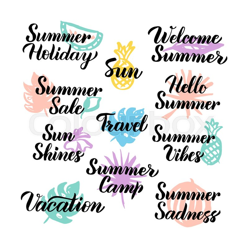 Summer Hand Drawn Quotes. Vector ... | Stock vector | Colourbox