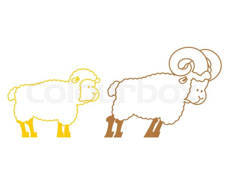 Sheep And Ram Farm Animals Linear Symbol Stock Vector Colourbox