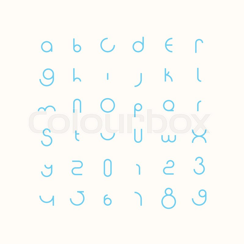 round style alphabet letters and numbers vector minimalistic font type design contemporary regular lettering geometric decorative typesetting modern
