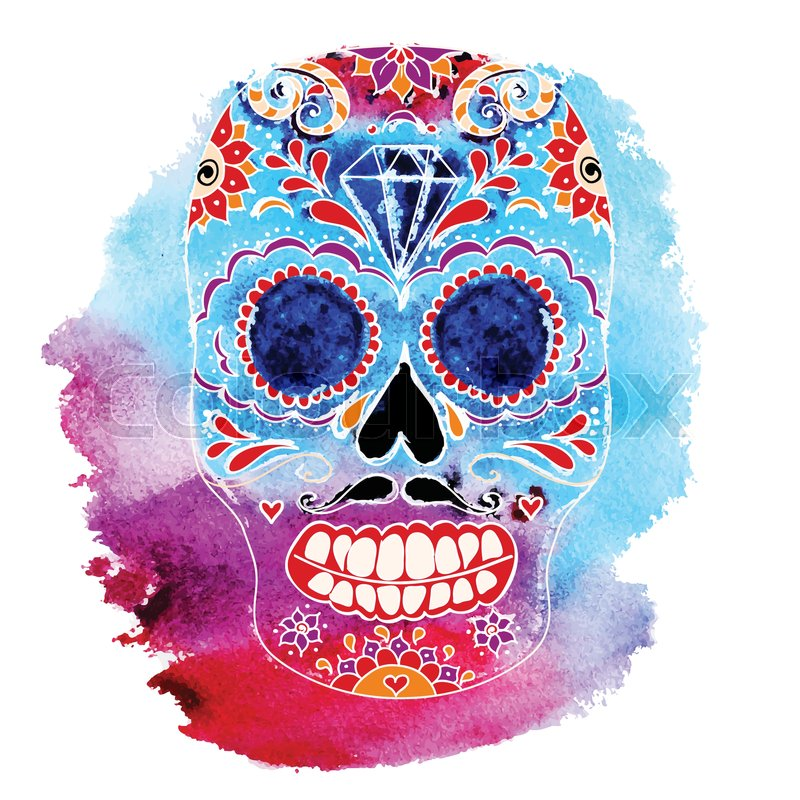 vector skull color illustration t shirt graphics day of the dead