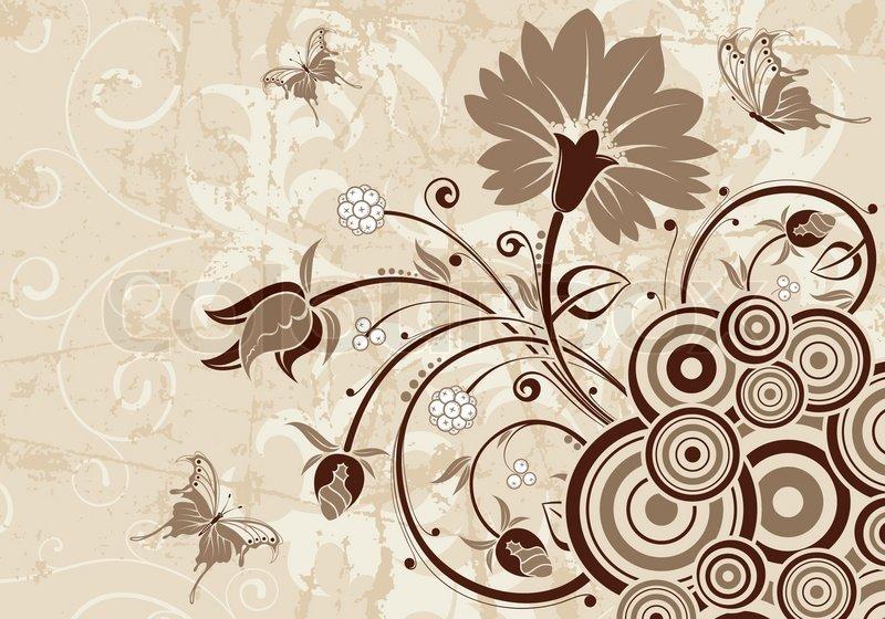 Grunge Floral Background For Design Vector Illustration