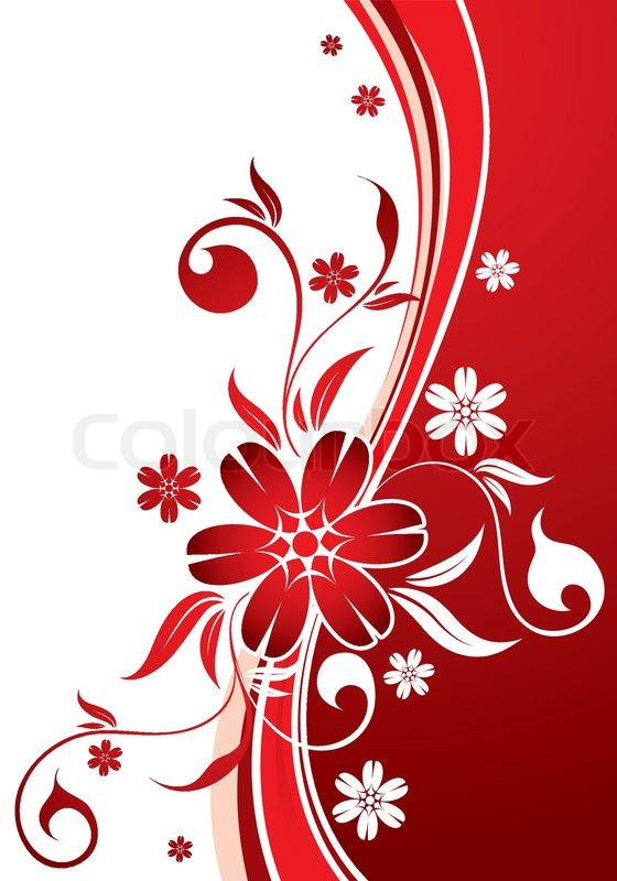 Floral Background With Wave Pattern Stock Vector