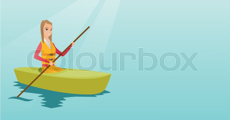 Young caucasian traveler woman traveling by kayak. Sportswoman riding a kayak on river. Traveling woman paddling a canoe. Sport and tourism concept. Vector flat design illustration. Horizontal layout, vector