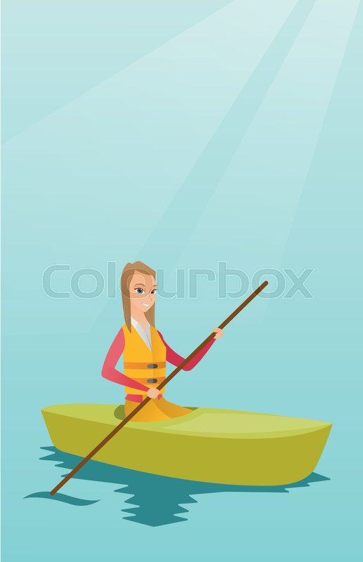 Young caucasian traveler woman traveling by kayak. Sportswoman riding a kayak on river. Traveling woman paddling a canoe. Sport and tourism concept. Vector flat design illustration. Vertical layout, vector