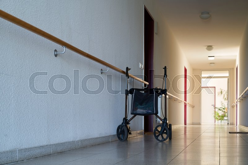 Long Dark Hallway And Rollator In A Dreary Nursing Home For Old People Magdeburg