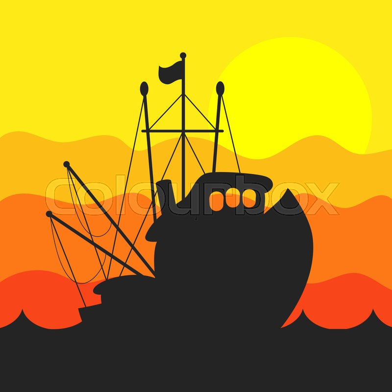 Silhouettes Of Fishing Boats On The Stock Vector Colourbox