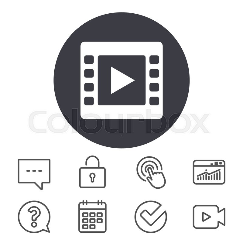 Video sign icon. Video frame symbol. Calendar, Locker and Speech ...