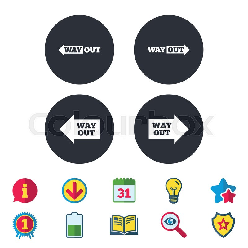 Way Out Icons Left And Right Arrows Symbols Direction Signs In The