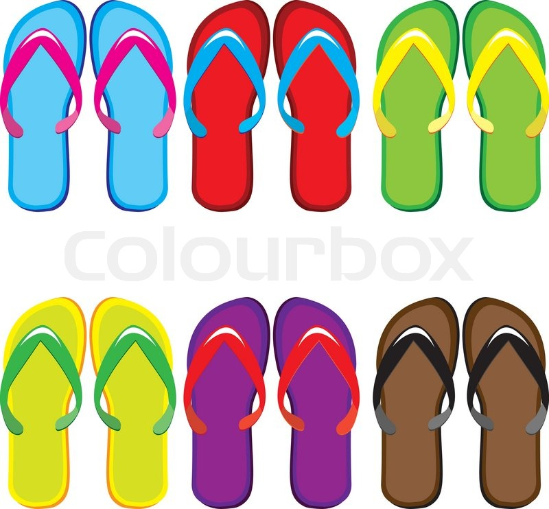 c1f1cad6e Six pairs of colorful flip flops ...