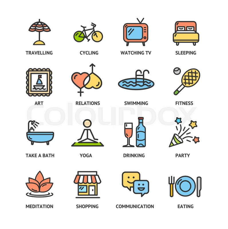Relaxation Rest Time Color Thin Line Icon Set Symbol Of Relax
