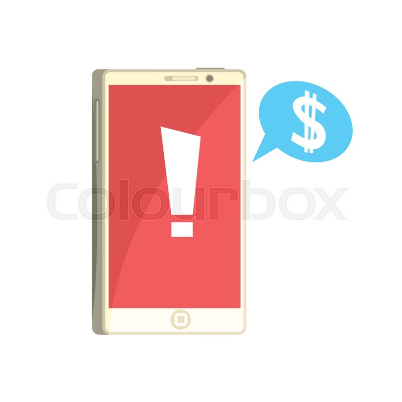 Phone with exclamation sign on red       Stock vector