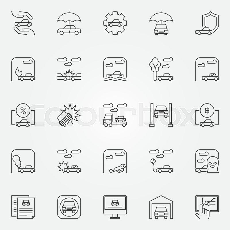 Car Insurance Icons Set Vector Auto Insurance Outline Concept