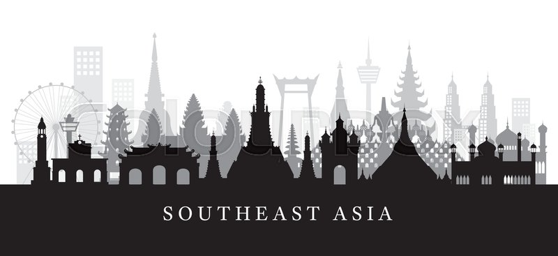 Southeast Asia Landmarks Skyline in ...   Stock Vector ...