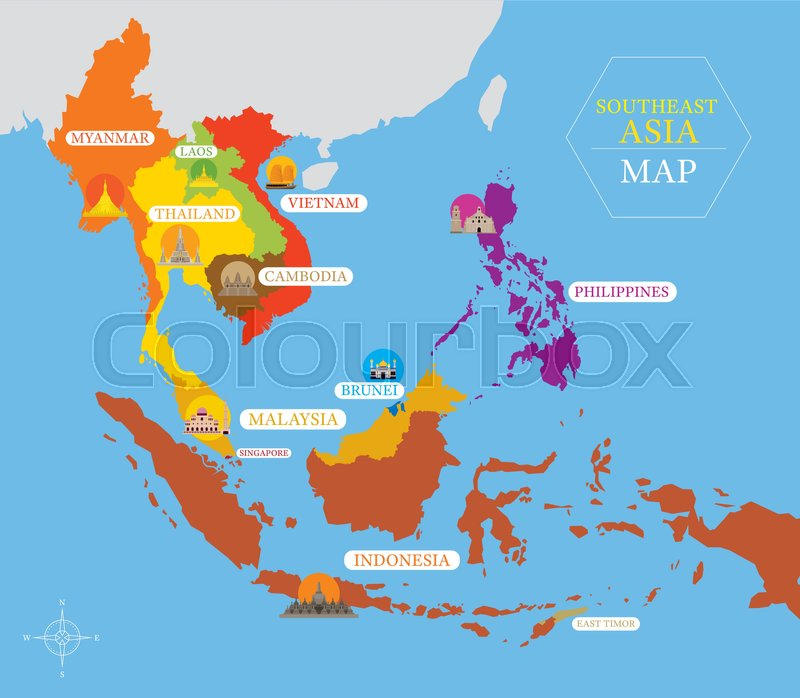 Map Of Asia 800.Southeast Asia Map With Country Icons Stock Vector Colourbox
