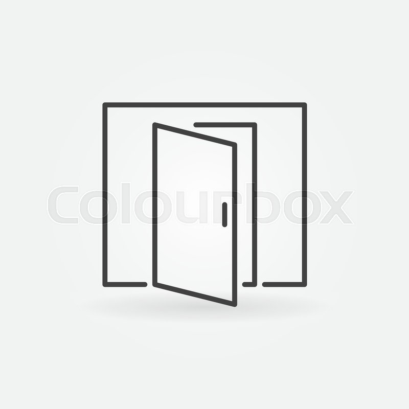 Open Door Icon Vector Minimal Square Symbol Or Design Element