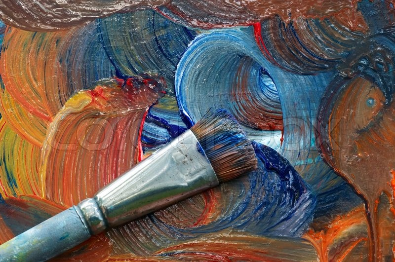 Painting in oil colours - craftsmanship, stock photo