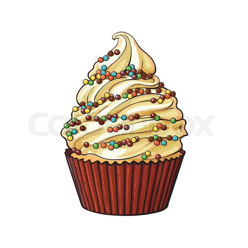 Hand drawn cupcake with perfect cream     | Stock vector