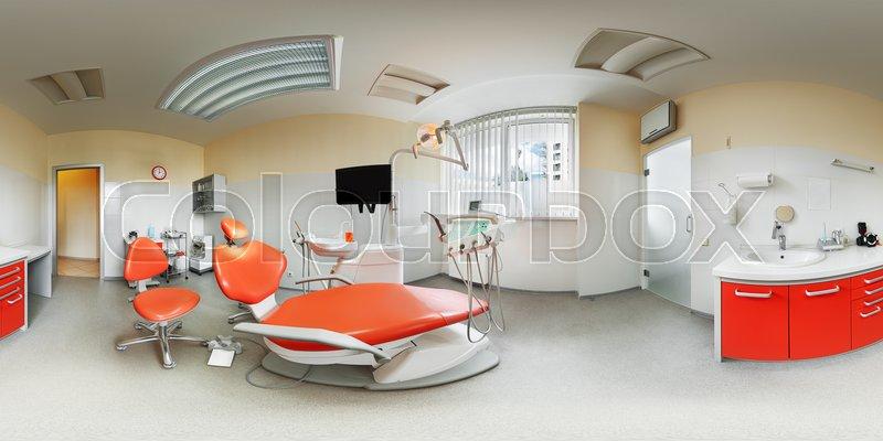 Panorama view of european modern fashionable dental clinic 360 lense ...