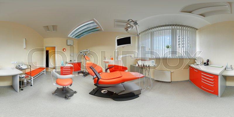 Equidistant spherical projection interior inside dental office beige ...